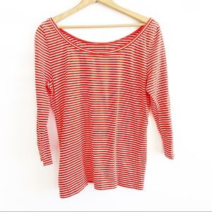 J.Crew  Top 3/4 Red and white stripe Size L.